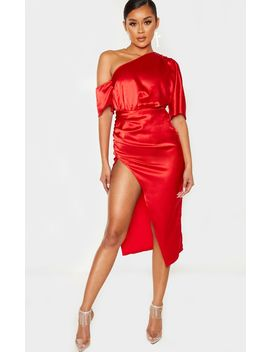 red-one-shoulder-ruched-skirt-midi-dress by prettylittlething
