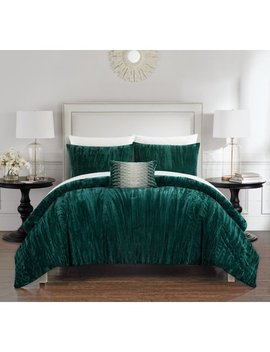 chic-home-kerk-4-piece-comforter-set-crinkle-crushed-velvet-bedding,-queen,-green by chic-home