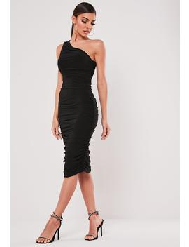 black-slinky-ruched-one-shoulder-midi-dress by missguided