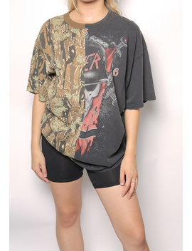 Split Army Leaves And Slayer Oversized Tee by Iamkoko