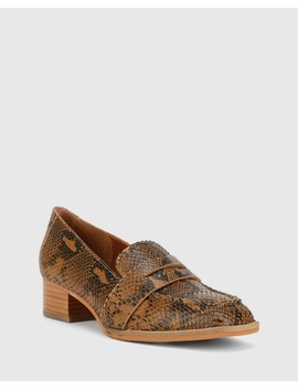 Fentis Camel Snake Print Leather Block Heel Square Toe by Wittner
