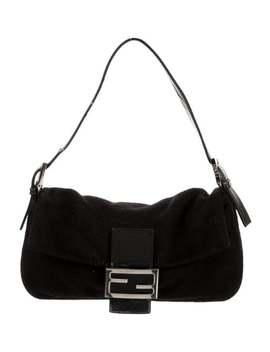 leather-trimmed-cashmere-baguette-bag by fendi