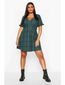 plus-check-ruffle-smock-dress by boohoo