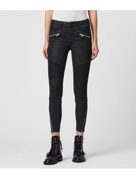 grace-biker-cropped-mid-rise-skinny-jeans,-coated-black by allsaints