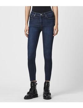 roxanne-cropped-high-rise-skinny-jeans,-dark-indigo by allsaints