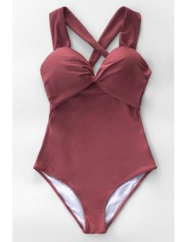 Solid Red Twist And Cross One Piece Swimsuit by Cupshe