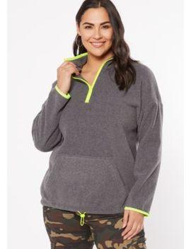plus-gray-half-zip-polar-fleece-pullover by rue21