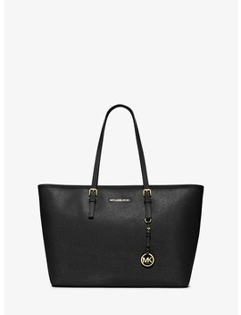 Jet Set Medium Saffiano Leather Top Zip Tote Bag by Michael Michael Kors