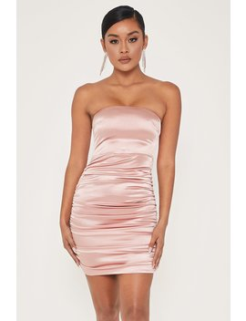 Bernadette Strapless Ruched Side Dress   Pink by Meshki