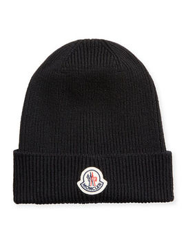mens-berretto-logo-patch-beanie-hat by moncler