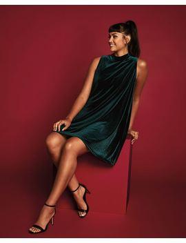 velvet-swing-dress-with-mock-neck by reitmans