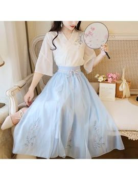 petit-lace---traditional-chinese-set:-elbow-sleeve-top-+-a-line-maxi-skirt by petit-lace