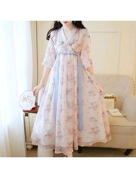petit-lace---tie-waist-flora-chiffon-maxi-hanfu-dress by petit-lace