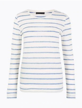linen-blend-striped-regular-fit-t-shirt by marks-&-spencer