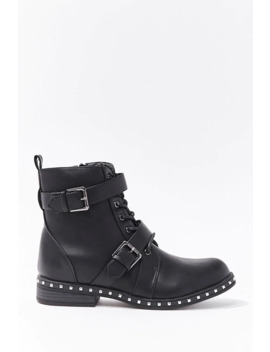 studded-faux-leather-ankle-boots by forever-21