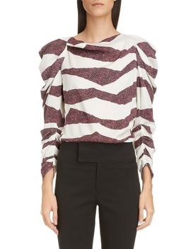 zebra-stripe-puff-shoulder-blouse by isabel-marant