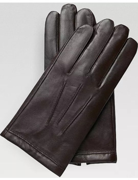 Men's Wearhouse Brown Leather & Cashmere Gloves by Men's Wearhouse