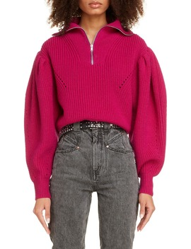 quarter-zip-puff-sleeve-wool-sweater by isabel-marant