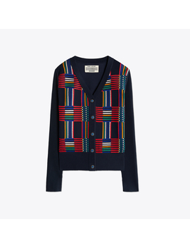 Merino Mosaic Plaid Jacquard Front Cardigan by Tory Burch