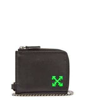 logo-leather-chain-wallet by off-white