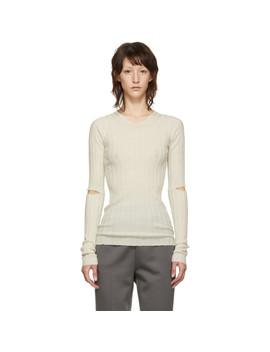 white-slash-rib-v-neck-sweater by helmut-lang