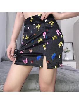 Butterfly Print Velvet Split Skirt by Dog Dog