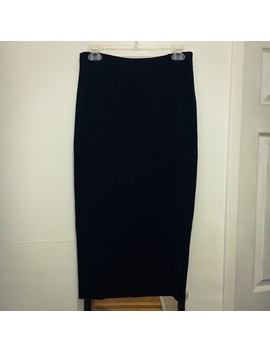 h&m-high-waisted-side-slit-ribbed-midi-skirtpreowned_used by h&m