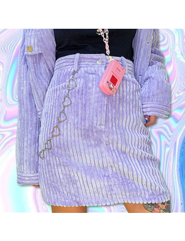 violet-cord-skirt by foreveronlineforeveronline