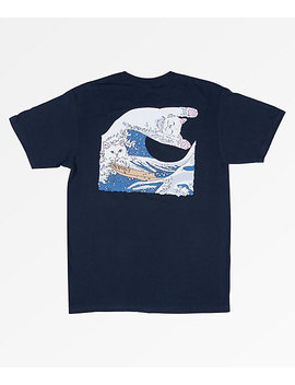 ripndip-great-wave-of-nerm-navy-t-shirt by zumiez
