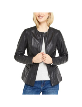 collarless-leather-jacket by oasis