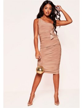 maggie-camel-one-shoulder-ruched-belted-dress by missy-empire