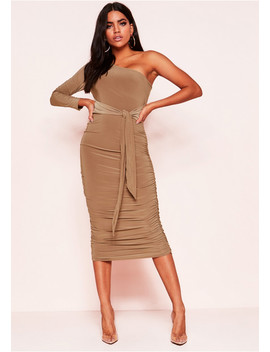 phoebe-camel-one-shoulder-ruched-belted-dress by missy-empire