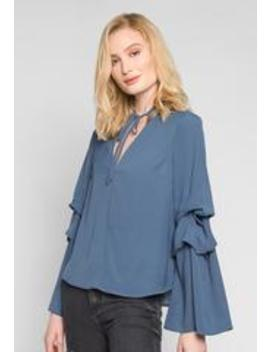 Bella Layered Sleeve Blouse In Navy by Wet Seal
