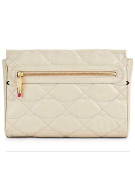 lulu-guinness-stone-leather-katie-clutch-~-lips-design-~-rrp-£265-~-bnwt-~ by lulu-guinness