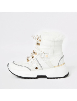White Lace Up Trainer Boots by River Island