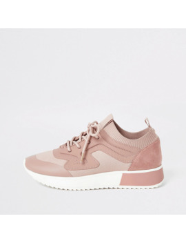 Pink Rubber Panel Cleated Runner Trainers by River Island