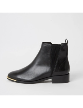 Black Leather Chelsea Ankle Boots by River Island