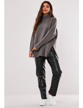 gray-extreme-rib-hem-long-sweater by missguided