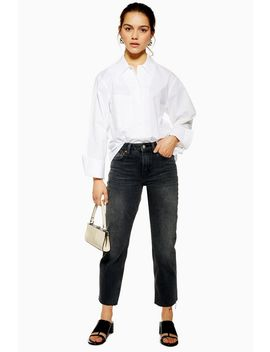 petite-considered-washed-black-raw-hem-organic-cotton-straight-jeans by topshop