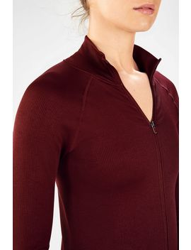 Luciana Ribbed Seamless L/S Zip Up by Fabletics