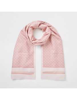 Pink Ri Monogram Blocked Scarf by River Island