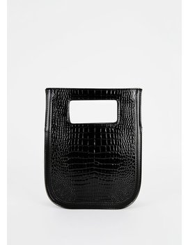 cut-out-handle-bag-in-black-croc by the-frankie-shop
