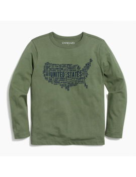 Boys' Long Sleeve Usa Map Graphic T Shirt by J.Crew