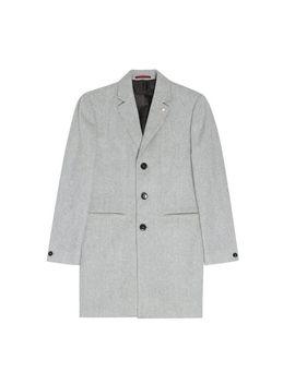 Grey Herringbone Marl Faux Wool Overcoat by Burton