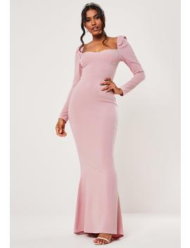 bridesmaid-blue-milkmaid-long-sleeve-fishtail-maxi-dress by missguided
