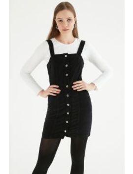 Black Bodycon Cord Dress by Select