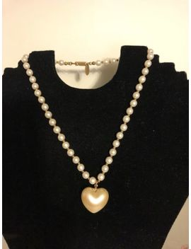 "vintage-signed-miriam-haskell-pearl-heart-necklace-16"" by miriam-haskell"