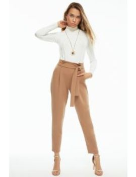 Camel Paperbag Tie Waist Crepe Trousers by Select