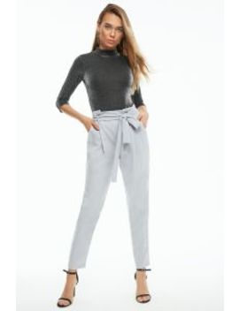 Ice Grey Paperbag Tie Waist Crepe Trousers by Select
