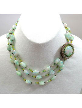 """vtg-miriam-haskell-""""easter-parade""""-necklace-speckled-pastel-art-glass-beads-rare by miriam-haskell"""